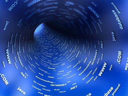 caching: abstract 3d illustration of blue tunnel, internet concept