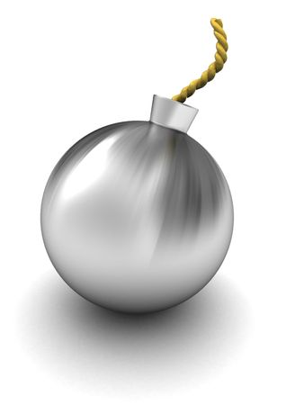 3d illustration of stainless steel bomb over white background Stock Illustration - 6002987