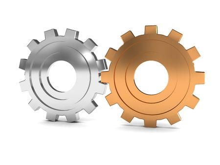3d illustration of two gear wheels over white background Stock Illustration - 6002994