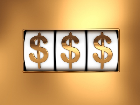 jackpot: 3d illustration of slot machine jackpot with dollar symbols