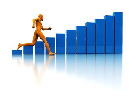 3d illustration of running man and raising charts illustration