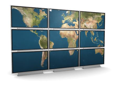 3d illustration of tv wall with world map on it illustration