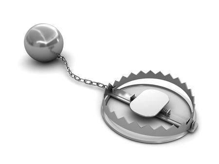 3d illustration of steel trap over white background Stock Illustration - 6002962