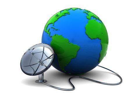 3d illustration of earth globe and satellite antenna over white background