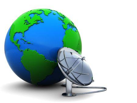 antena parabolica: Ilustraci�n 3D de globo de tierra con radio-antena conectada Foto de archivo