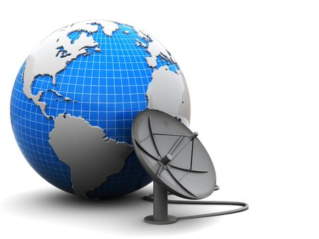 parabola: 3d illustration of earth globe with satellite antenna