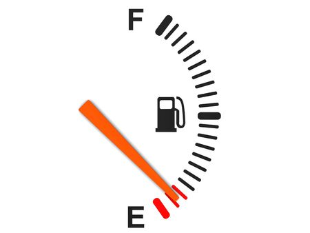 gas gauge: 3d illustration of generic fuel gauge, over white background Stock Photo