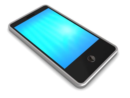 computer generated: 3d illustration of generic touch screen phone over white background
