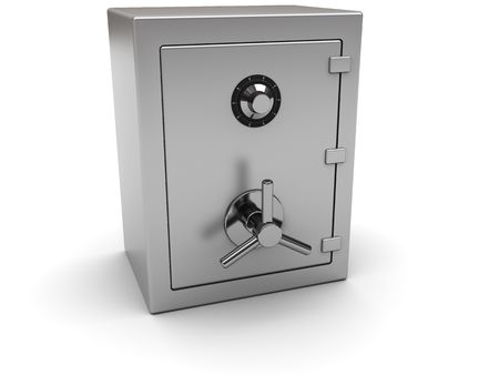 combination safe: 3d illustration of closed steel safe over white background
