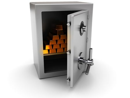 caja fuerte: Ilustraci�n 3D de acero seguro con ladrillos de oro dentro de Foto de archivo