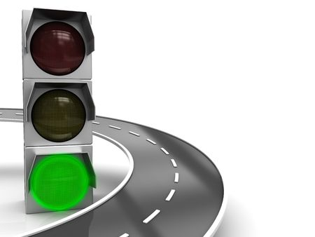 abstract 3d illustration of traffic light with green color and road illustration