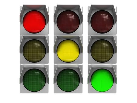 to proceed: 3d illustration of isolated traffic light with all colors Stock Photo