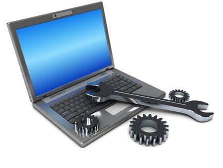 repairing: Ilustraci�n 3D de port�til con llave y engranajes