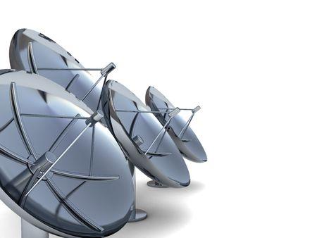 parabolic mirror: 3d illustration of radio aerials at left side of white background Stock Photo
