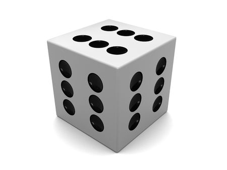surpass: 3d illustration of white dice with six on all sides