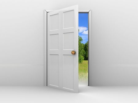 3d illustration of opened door with summer nature illustration