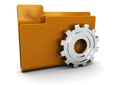 folder icons: 3d illustration of folder icon with gear wheel