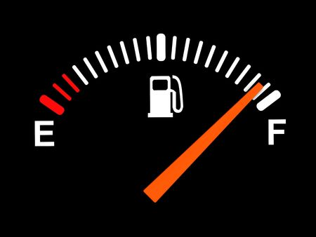 drives: 3d illustration of generic fuel meter over black background