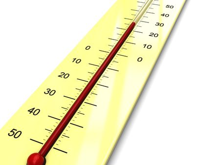 climatology: 3d illustration of thermometer with warm temperature Stock Photo
