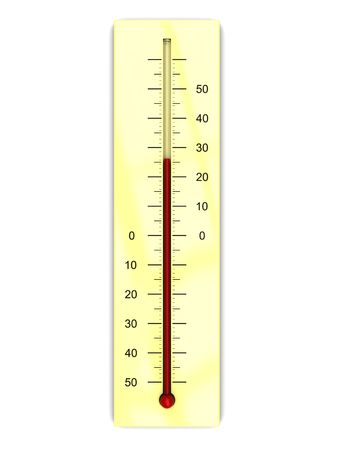 climatology: 3d illustration of thermometer with warm temperature, over white background Stock Photo