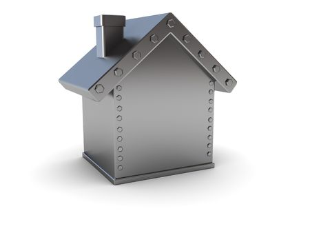 abstract 3d illustration of steel house safe over white background Stock Illustration - 6304890