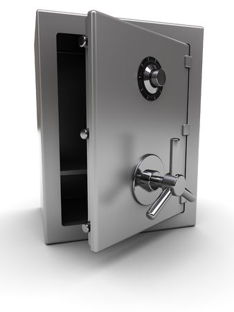 3d illustration of steel safe with opened door, over white background illustration