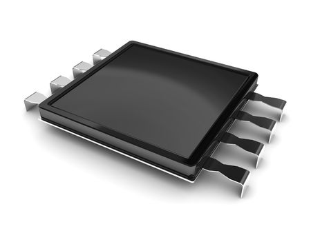 microcontroller: 3d illustration of electrical micro chip over white background