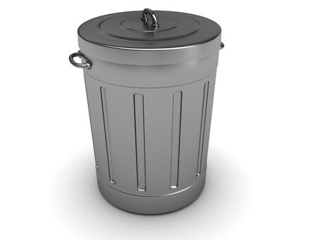 wastepaper: 3d illustration of trash can isolated over white background