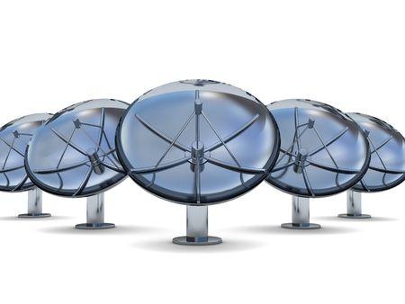 parabolic mirror: 3d illustration of radio aerials row over white background