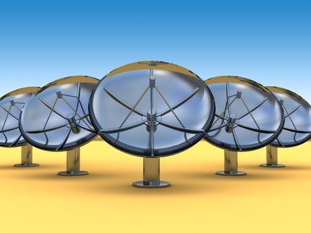 parabolic mirror: abstract 3d illustration of radio aerials in desert Stock Photo