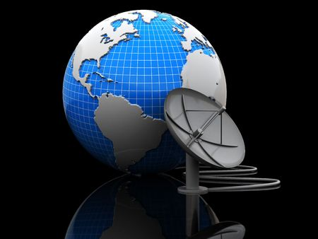 abstract 3d illustration of earth globe with satellite antenna over black background illustration