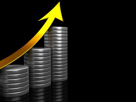 abstract 3d illustration of raising charts with arrow illustration