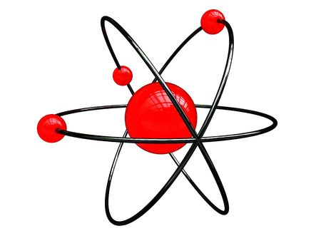 abstract 3d illustration of atom structure over white background Stock Illustration - 6382559
