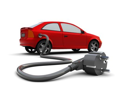 3d illustration of car with power plug,  electric car concept 版權商用圖片