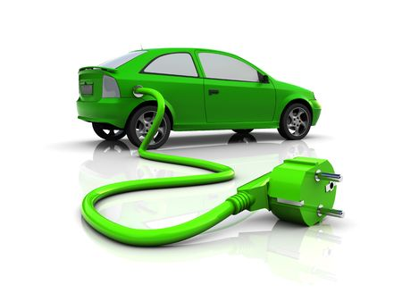 electric outlet: 3d illustration of hybrid car with power plug, over white background Stock Photo