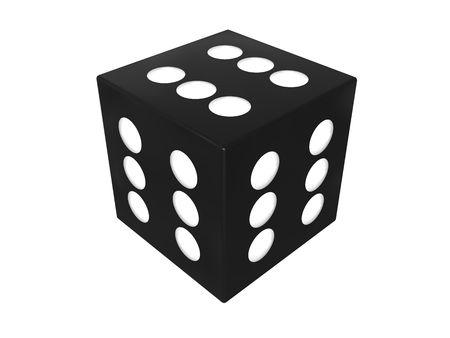 illustration 3D du cube de dés gagnante sur fond blanc