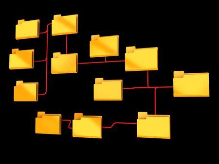 organigrama: Ilustraci�n 3d abstracto de gr�fico de la organizaci�n de carpetas