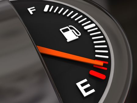 gas gauge: 3d illustration of fuel gauge with low fuel alert Stock Photo