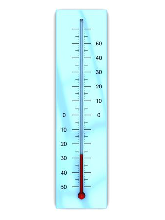 climatology: 3d illustration of thermometer with cold temperature, isolated over white backgroun Stock Photo