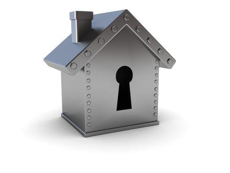 conceptual 3d illustration of home safe over white background Stock Illustration - 6382575