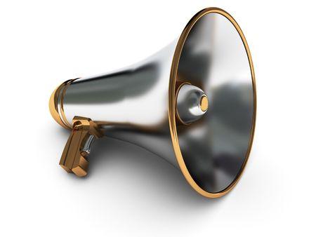 mega phone: 3d illustration of metal megaphone over white background