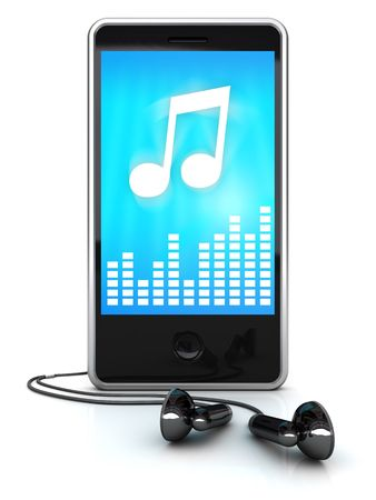 loudness: 3d illustration of mobile media player over white background Stock Photo