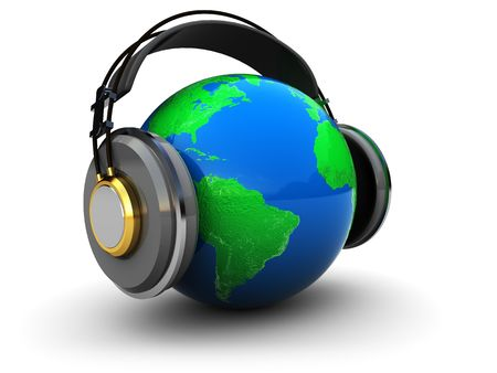 abstract 3d illustration of earth globe with headphones over white background Stock Illustration - 6382580