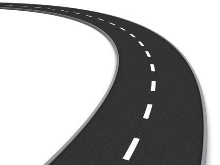 3d illustration of asphalt road curve over white background illustration