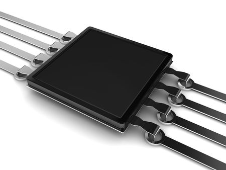 microcontroller: 3d illustration of electrical chip on circuit over white background