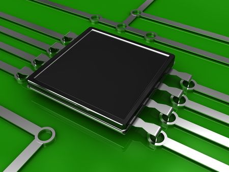 microcontroller: 3d illustration of electronic circuit over green background