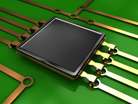 microcontroller: 3d illustration of electronic chip and circuit with green background