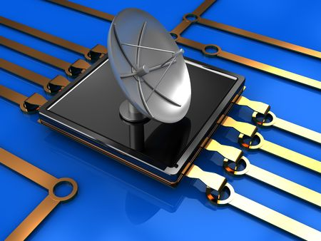 microcontroller: abstract 3d illustration of electronic circuit with satellite antenna Stock Photo
