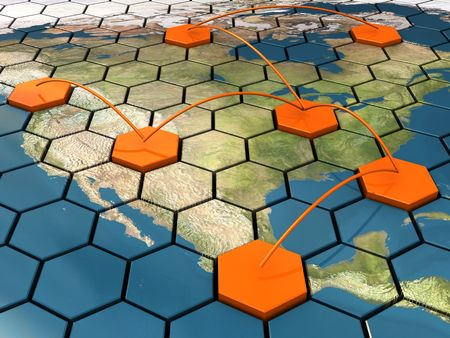 geographical locations: abstract 3d illustration of cellular network on map Stock Photo