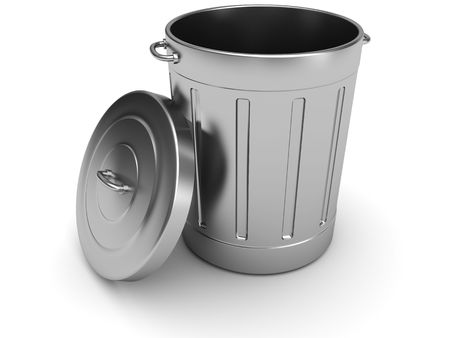rubbish bin: 3d illustration of steel trash can over white background